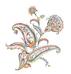 Bouquet of paisley pattern, pencil drawing on white background, isolated with clipping path. East ornament of buta, hand drawing.