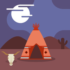 camp native american teepee skull cactus at night vector illustration