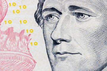portrait of president hamilton on ten dollar bill