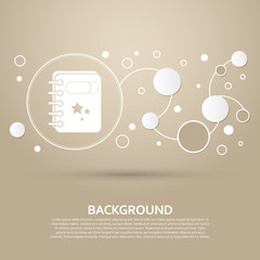 book Icon on a brown background with elegant style and modern design infographic. Vector