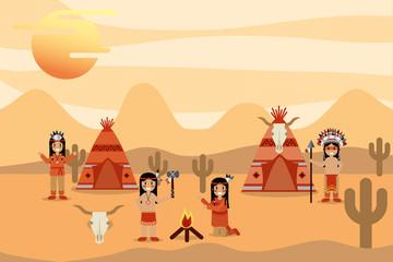 native american activities with teepee bonfire cactus in desert vector illustration
