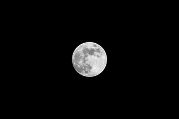 Full moon on a cold night with a black backround