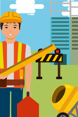 construction worker character holds ruler toolbox and equipment vector illustration