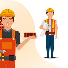 construction people workers foreman blueprint and bricks vector illustration