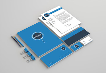 Business Stationery Layout Kit with Blue Accents