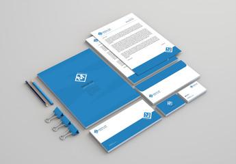 Blue Business Stationery Set Mockup