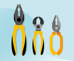 construction tools equipment pliers cutters snips vector illustration
