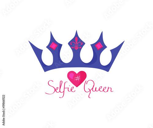 Vector illustration with a girl slogan Selfie Queen, heart