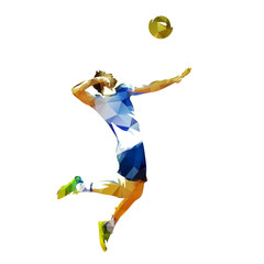 Volleyball player serving ball, abstract polygonal vector illustration