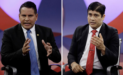A combination picture shows presidential candidates Fabricio Alvarado and Carlos Alvarado as they attend a debate in San Jose