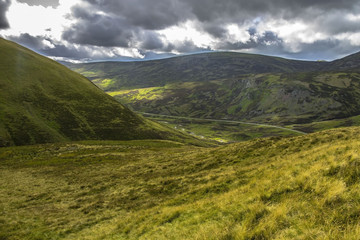 Scotland landscape. Cairngorm Mountains, Aberdeenshire. Royal Deeside between Ballater and Braemar.