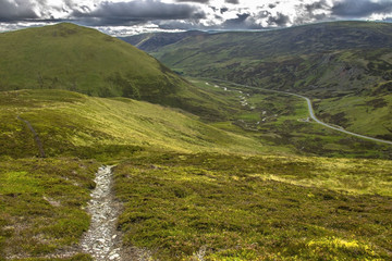 Scotland landscape. Cairngorm Mountains and Old Military Road A93. Royal Deeside between Ballater and Braemar.