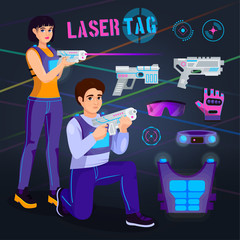 Gamer in laser tag vector player character gaming in lasertag with gun shooting in aim illustration set of people playing in gameplay with laser weapon isolated on background