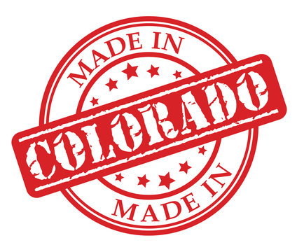 Made in Colorado red rubber stamp illustration vector on white background