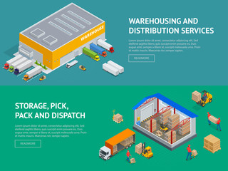Web banners provision of warehouse service and Storage, pick, pack and dispatch. Isometric vector illustration