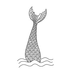 Hand drawn ornamental mermaid's tail. Vector illustration