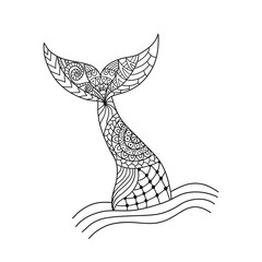 Hand drawn ornamental mermaid's tail. Vector illustration isolated on white background.