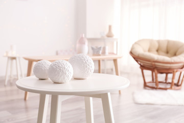Table with decors in living room