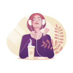 Young girl closing eyes enjoys listening music with headphones. Coffee on the table. Flat style art.