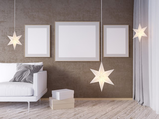 Living room interior wall mock up with gray fabric sofa, pillows and Xmas star on white background, 3D rendering, 3D illustration