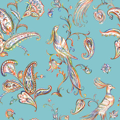 Seamless pattern with fabulous birds and paisley. Oriental ornament with birds, hand drawing.