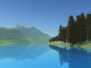 3D landscape with trees and mountains at a lake side