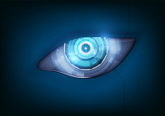 Eye of the robot. Futuristic HUD interface,vector illustration