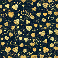 Seamless vector texture with gold hearts. You can create the wallpaper with this pattern, color of elements can be changed as you want.