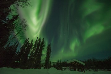Dramatic aurora taking different shapes and swirling in the night sky