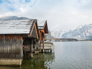 Pier of wooden planks in the hallstatt austria europe travel