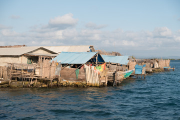 Houses at Kuna village on island, Guna Yala, San Blas Island, Panama