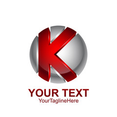 Initial letter K logo template colored red grey circle sphere design for business and company identity