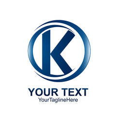Initial letter K logo template colored blue circle wave swoosh design for business and company identity