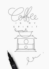 Coffee pen line poster spirit