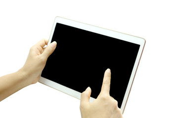 woman's hand touches screen tablet screen. on white background
