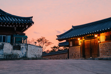 Gyeongju Gyochon Hanok Village, Korean traditional house and sunset view Wall mural