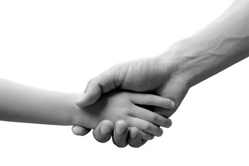 image black and white Hands of the elderly holding hand child  on white background . Family concept And help