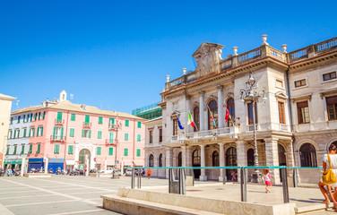 Poster Havana Beautiful street and traditional buildings of Savona, Liguria, Italy