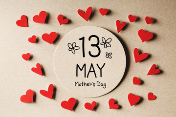13 May Mothers Day message with handmade small paper hearts