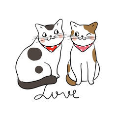 Vector illustration character design couple cat in love Draw doodle style