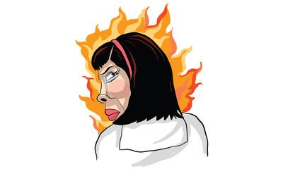 woman act cartoon, line sticker vector
