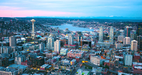 Seattle Panoramic South Lake Union Buildings Under Construction Center Growing City Sunset Red Clouds Aerial View Looking North