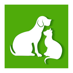 Dog and cat logo vector green background