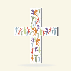 Families and people on a cross shape vector image logo