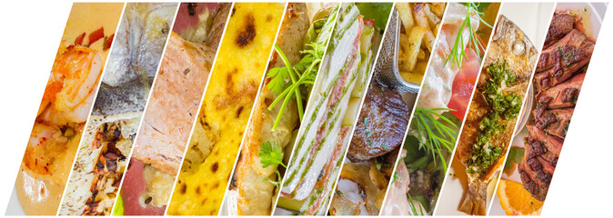 collage de plats cuisinés