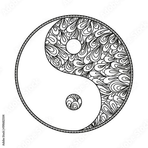 Yin And Yang Religion Symbol Zentangle Hand Drawn Mandala On