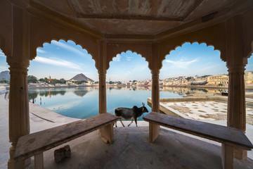 A view of pushkar lake - a well known pilgrimage center for hindu pilgrims at Pushkar, Rajasthan