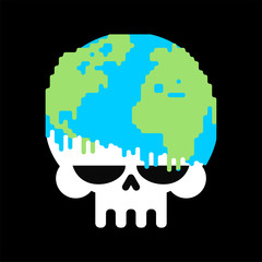 Earth Death skull to planet. End of world
