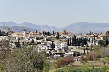 Blick von der Alhambra auf Granada, Andalusien, Spanien, Europa