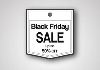 Banner template for Black Friday with text space on grey and white background. Hands hold the black circle.